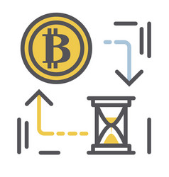 bitcoin icon in modern thin vector image