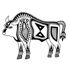 black and white original ethnic tribal bison vector image