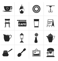 Black Cafe and coffeehouse icons vector image