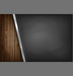 black metal empty plate on wooden background vector image