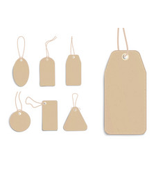 blank craft cardboard price tags set realistic vector image