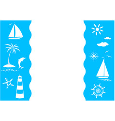 blue white sea travel banner card frame vector image