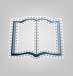 book sign blue icon with outline for vector image