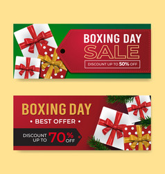 boxing day banner sale templates with gift box vector image