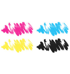 Brushstrokes in four colors vector