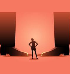 Business woman standing between giant mens legs vector