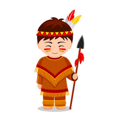 cartoon indian cute little kid in costume vector image