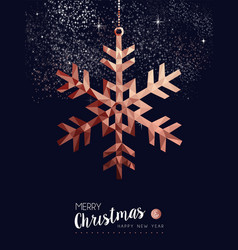 Christmas and new year copper low poly card vector