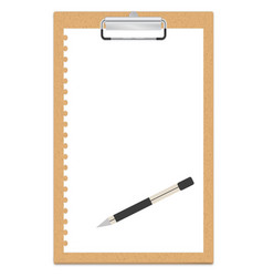 clipboard with a blank sheet of paper vector image