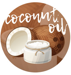 Coconut oil in bottle cartoon icon on vector