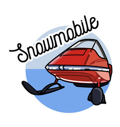 color vintage snowmobile emblem vector image