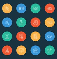commerce icons line style set with accounting vector image