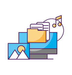 computer folder music picture data storage vector image