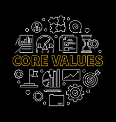 core values round concept linear vector image