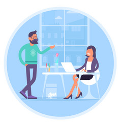 coworkers are communicating in office vector image