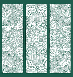 Creative vertical flyers white blue pattern vector