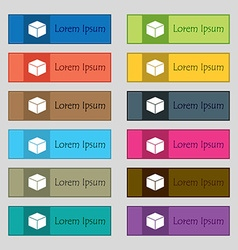 cube icon sign Set of twelve rectangular colorful vector image