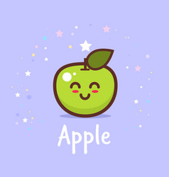 cute green apple cartoon comic character vector image