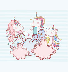 Cute unicorn friends with plants in the clouds vector