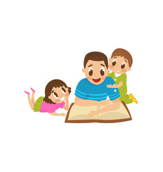 Dad reading a book to his son and daughter family vector