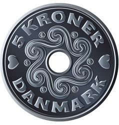 Danish five crone coin vector