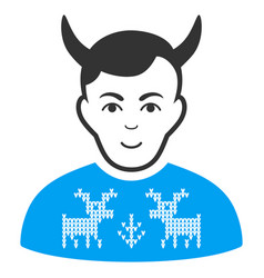 Deers pullover horned husband flat icon vector