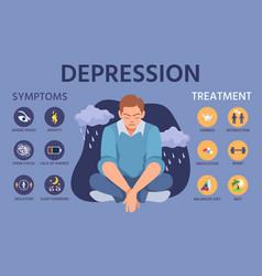 Depression symptoms signs prevention vector