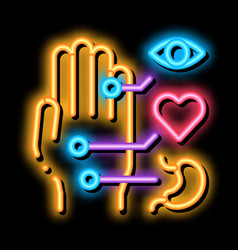 Different points impact organs on arm neon vector