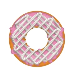 Donut with spirals cream and pink glazed vector