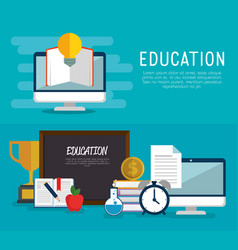 education on line set icons vector image