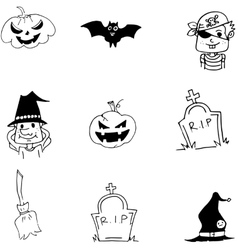 Element bat pumpkins broom Halloween doodle vector image