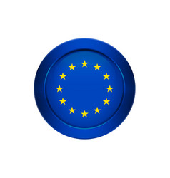 european union flag on the round button vector image