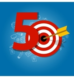 Fifty years target in business calendar list vector