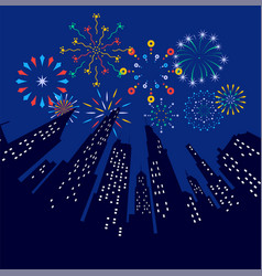 Fireworks displaying in dark evening sky and vector