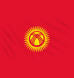 Flag kyrgyzstan swaying in wind realistic vector
