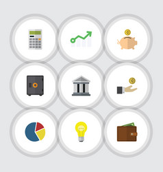 Flat icon gain set of billfold money box vector