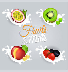 Fruit splashing in milk colorful poster vector