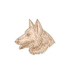 German shepherd dog head mono line vector