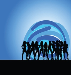 Girls on moonlight silhouette vector