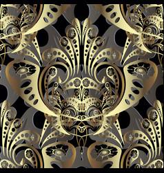 Gold baroque 3d seamless pattern modern vector