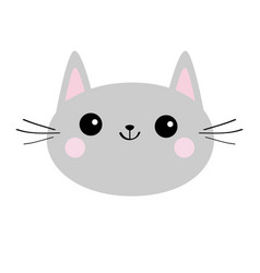 Gray cat head face silhouette icon cute cartoon vector