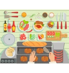 Grill Restaurant Cooking Table Elements Set View vector