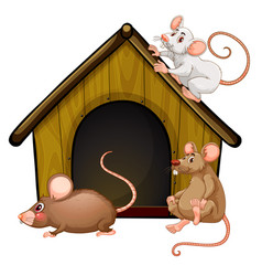 Group cute mouses with little house isolated vector