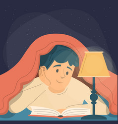 guy reading a book under blanket vector image
