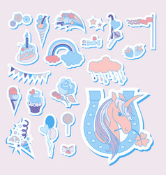 Hand drawn holiday icons with rainbow unicorn vector