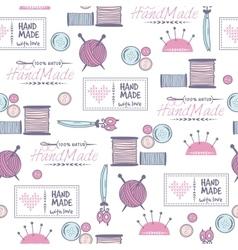 Handmade needlework badges pattern vector