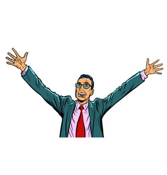 Happy businessman hand up gesture vector