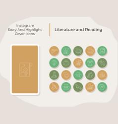 Literature and reading social media story vector