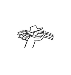 man carrying wheat hand drawn sketch icon vector image
