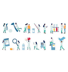 Medical clinic and lab staff flat isolated vector